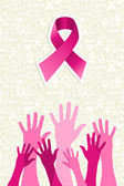 Breast cancer awareness ribbon women hands vector file. — Stock Vector