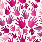 Breast cancer awareness ribbon women hands seamless pattern. — Stock Vector