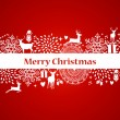 Merry Christmas elements red postcard vector file. — Stock Vector
