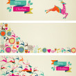 Merry Christmas elements template web banners set. — Stock Vector