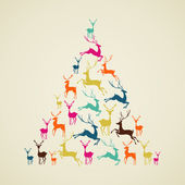 Merry Christmas reindeer pine tree shape vector. — Stock Vector