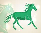 Chinese New Year 2014 green running horse — Stock Vector