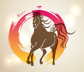Multicolor Chinese New Year of horse 2014 Zen background — Vector de stock
