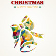 Merry Christmas contemporary triangle greeting card — 图库矢量图片