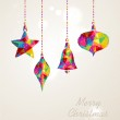 Merry Christmas multicolors hanging baubles composition — Stock Vector