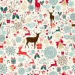 Vintage Christmas reindeer seamless pattern — Stock Vector