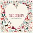 Vintage Merry Christmas love heart card — Stock Vector