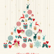 Vintage Christmas pine tree background — Stock vektor