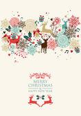 Merry Christmas postal card transparency — Stock Vector