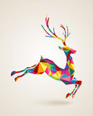 Christmas deer rainbow colors illustration — Vector de stock