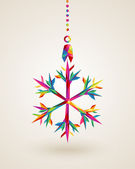 Merry Christmas snowflake multicolors hanging bauble — Stock Vector
