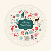 Merry Christmas vintage greeting card — Stock Vector