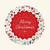 Merry Christmas vintage postal card illustration — Stock Vector