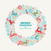 Merry Christmas and Happy New Year greeting card — Stock Vector