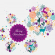 Merry Christmas colorful postcard — Imagen vectorial