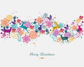 Merry Christmas colorful garland banner — Stock Vector