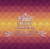Merry Christmas colorful geometric greeting card — Stock Vector
