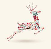 Merry Christmas jump deer illustration — Stock Vector