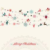 Merry Christmas vintage garland card — Stock Vector