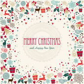 Merry Christmas holiday colorful icons illustration — Stock Vector