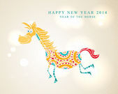 Funny cartoon horse Chinese New Year 2014 — Stock Vector