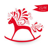 Chinese New Year of the Horse greeting card — Stock Vector
