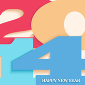 Happy New Year 2014 postcard vector illustration — Stock Vector