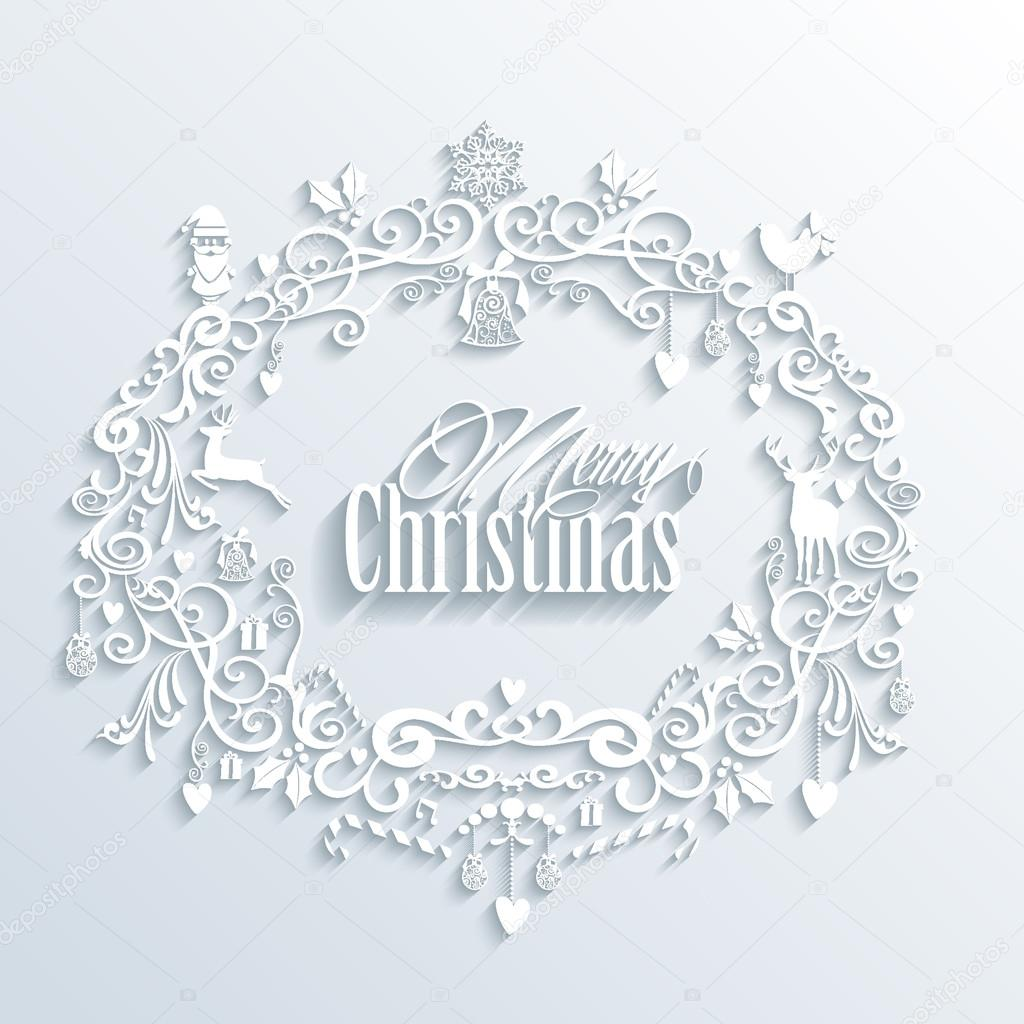Download abstract white merry christmas and happy new year wreath