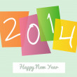 Happy New Year 2014 signs greeting card — Stock Vector