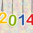 Happy New Year 2014 numbers colors hanging — Stock Vector