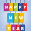 Happy New Year 2014 colors text hanging — Stock Vector #37916815