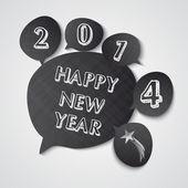 Happy New Year 2014 blackboard speech bubbles — Stock Vector
