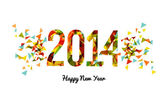 Abstract colors 2014 Happy New Year background — Stock Vector