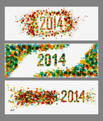 Happy New Year 2014 abstract colors banner set — Stock Vector