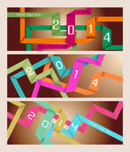 Happy New Year 2014 origami banner — Stock Vector
