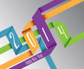 Happy New Year 2014 colorful origami illustration — Stock Vector