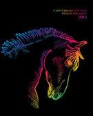 Chinesische frohes neues pferd 2014 postkarte — Stockvektor
