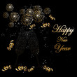 Happy new year 2014 fireworks greeting card — Vector de stock