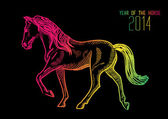 Chinesische rutsch des pferdes 2014 — Stockvektor