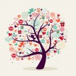 Valentines day tree greeting card — Stock Vector #40237215
