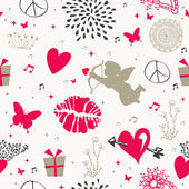 Valentines day vintage seamless pattern — Stock Vector