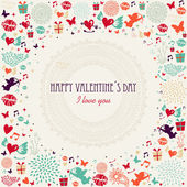 Valentines day colorful greeting card — Stock Vector