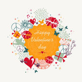 Happy Valentines day colorful circle label background — Stockvektor