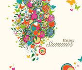 Summer flowers illustration — Stock Vector
