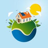 Green Solar energy concept  — Stock Vector
