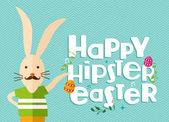 Hipster easter rabbit greeting card — Stock Vector