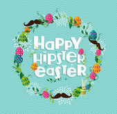 Happy Hipster Easter colorful wreath  — Stock Vector