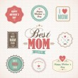 Happy Mothers Day labels and icons set — Stock Vector #44614929