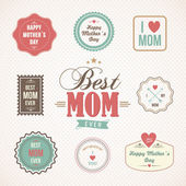 Happy Mothers Day labels and icons set — Stock Vector