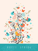 Happy Spring greeting card illustration — Vector de stock